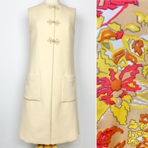 Vtg 60s cream longline vest with vibrant lining